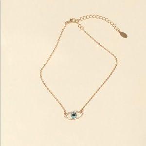 Gold Evil Eye Necklace Choker Adjustible